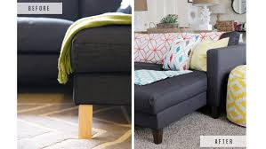 Karlstad Sofa Leg Hack by Make Cheap Furniture Look Expensive