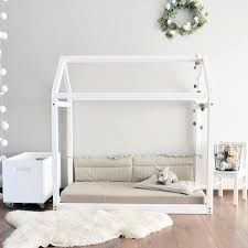 Full size house bed floor Montessori bed frame baby bed