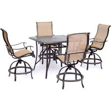 Hanover Manor 5-Piece High-Dining Set With 4 Sling Swivel Chairs And Square  Cast-Top Table Kitchen Design Counter Height Ding Room Table Tall High Hightop Table With 4 Leather Chairs Top Hanover Monaco 7piece Alinum Outdoor Set Round Tiletop And Contoured Sling Swivel Chairs High Kitchen Set Replacement Scenic Top Wning Amazing For Sets Marble Square And Glass Small Pub Style Island Home Design Ideas Black Cocktail Low Tables Astonishing Rooms Modern Wood Dark 2