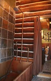 I Made My Own Rustic Exposed Shower System To Compliment Handmade Copper Bathtub In This Log Cabin Bathroom Remodeling Project