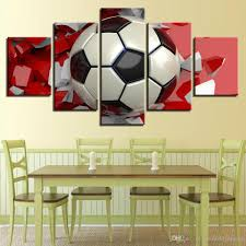 2018 Wall Decoration Posters Modular Art Home Frame 5 Panel Red Footbal Lhd Printed For Painting Living Room Modern From Meiledipainting 4532