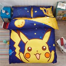 4 Pcs Bedding Set Cute Pokemon Pikachu Include Quilt Bed Duvet
