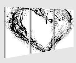 leinwandbild 3 tlg herz schwarz tinte abstrakte kunst liebe schlafzimmer schwarz weiß bild bilder leinwand leinwandbilder holz wandbild mehrteilig