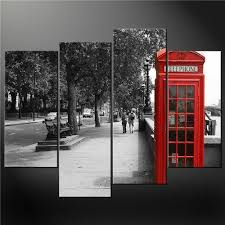 4 Panel Black White And Red Phone Booth London Wall Art Cascade Canvas Print Picture Painting Prints On The City Pictures 3 Oil For