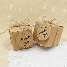 1pcs Natural Brown Kraft Paper Wedding Candy Box With Thank You Tag Rustic Decor Vintage