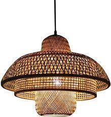 vintage pendelleuchte retro esszimmer le esstisch bambus hängele sockel e27 max 40 watt geeignet für leuchtmittel led edison birne handgemacht
