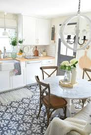 pretty ethnic patterned kitchen floor tile design in a kitchen