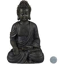 relaxdays buddha figur sitzend 18cm dekofigur für wohnzimmer und bad feuchtigkeitsresistent kunststein dunkelgrau