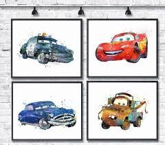 Papercraft Disney Cars New Mcqueen Watercolor Print Set Art Pixar Lightning
