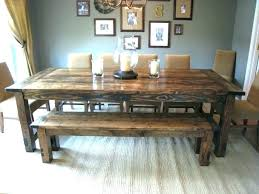 Dinner Table Bench Rustic Dining With Glamorous Distressed Farmhouse Tables On Stained And Seat Back For