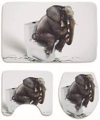 alumuk badematten set 3 teilig toilettenmatte set 3d elefant