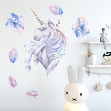 50x50cm Unicornio Dibujos Animados Cristales Chispeantes Art