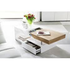 basse design blanc laqué et bois 120 cm