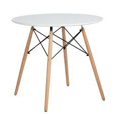 Coavas Kitchen Dining Table Round Coffee Table White Modern Leisure
