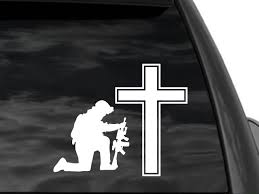 Large Kneeling Soldier Cross Window Decal Sticker In White