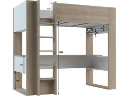 vente unique bureau lit mezzanine noah avec bureau rangements intégrés 90x200cm