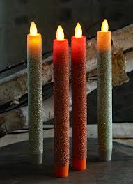 Halloween Flameless Taper Candles by 8 Inch Glitter Orange Moving Flame Taper Candle Set 2 Remote