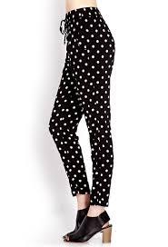forever 21 posh polka dot woven pants in black lyst