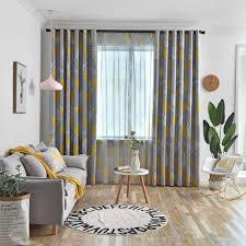 gyc2418 nordic vorhänge wohnzimmer schlafzimmer blätter blau gelb grau blackout vorhang fenster treatement drapieren shades