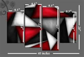 Triangles Abstract Red White Black Canvas Wall Art Picture 4 Panel 40 Inch 101cm