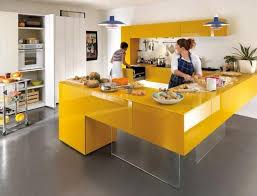 Italian Kitchen Design Contemporary Cabinets And Yellow Island With Glass