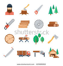 Vector Lumberjack Icons Set In Flat Style On White Background Tools And Equipment Of The
