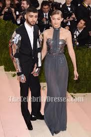 gigi hadid grey strapless sequins choker evening dress chiffon