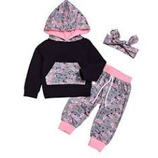Amazon HappyMA 3pcs Infant Baby Girls Cotton Outfits Clothes Printing Hoodie Tops Long Pants Headband 12 24 Months Fashion Outfit
