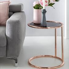 wohnling design beistelltisch metall glas 45 cm schwarz kupfer wohnzimmertisch verspiegelt