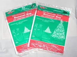 Vintage Christmas Tree Removal Bag And Skirt 2 Unopened Packs Plastic Vinyl Trash Bags Holiday Decor