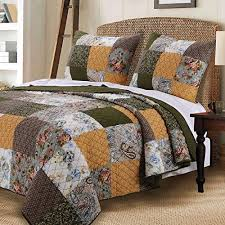 Vintage Country Paisley Floral Bedding Patchwork Pattern Gold Green 100 Cotton Reversible Print Quilt And Shams