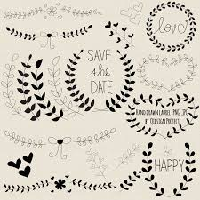 Hand Drawn Laurel Clipart Black For Scrapbooking Wedding Invitation Card Making Personal And