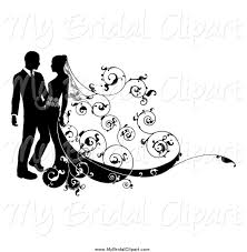 Larger Preview Bridal Clipart Of A Black And White Wedding Couple