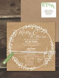 Rustic Leaf Wreath White Ink On Kraft Invitation