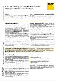 adac kaufvertrag für priv verkauf gebrauchtes kfz sd 1 x