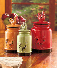 Apple Kitchen Decor Canada by Set Of 3 Rooster Canisters Country Kitchen Accent Home Decor For
