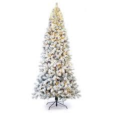 9 Pre Lit Slim Flocked Spruce Christmas Tree