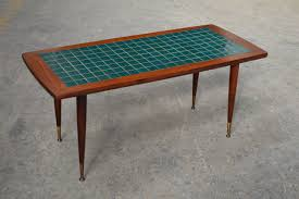 glass mid century modern turquoise tile top coffee table at