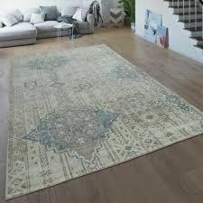 vintage teppich creme beige wohnzimmer kurzflor ethno design
