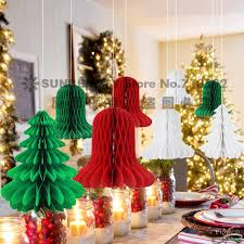 8pcs Set Mix And Match Christmas Decorations Paper Honeycomb TreeBell Honeycombs Indoor Trees Ornaments In Pendant Drop