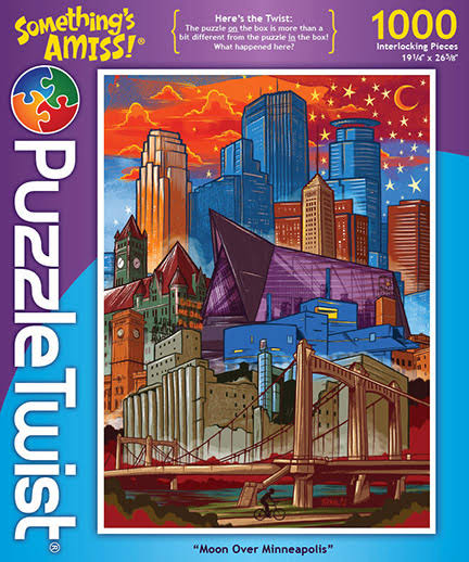 Puzzle Twist Moon Over Minneapolis Jigsaw Puzzle - 1000pcs