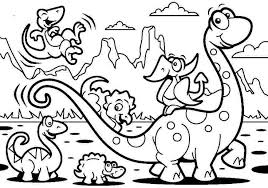 Funny And Easy Dinosaurs Coloring Page For Kids
