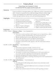 Hostess Job Description Resume Sample For Template Examples Samples Entry Inside Free Of