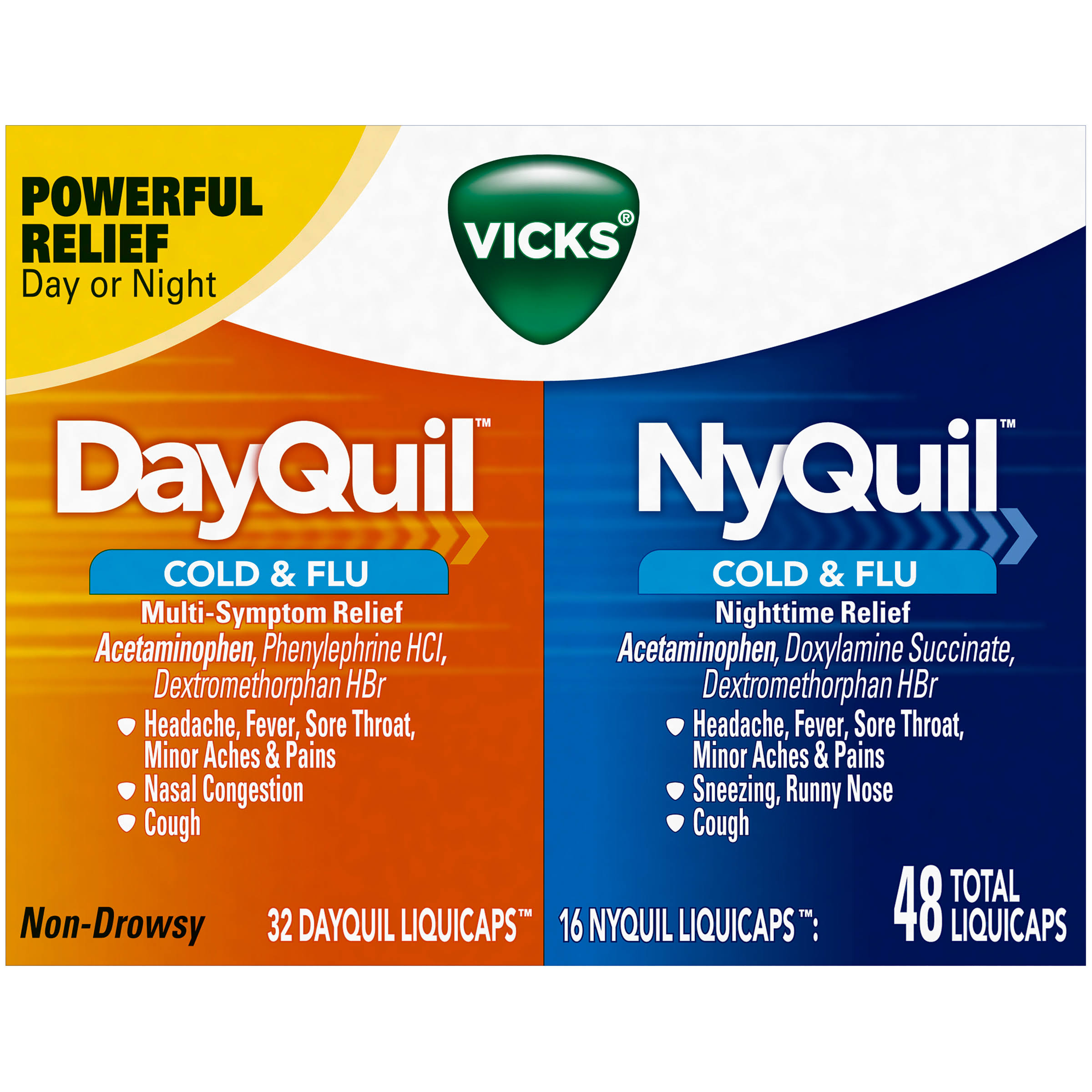 Vicks Dayquil and Nyquil Cold and Flu Relief Liqui Capsules - 48ct