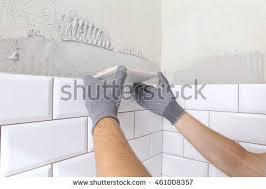 Ceramic Tile For Bathroom Walls by Stylish Trendy White Ceramic Tile Chamfer Stock Photo 461008357