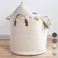 premium baumwollkorb 45 7 x 45 7 x 40 6 cm großer korb für decken wohnzimmer gewebter wäschekorb weißer korb großer deckenkorb wohnzimmer