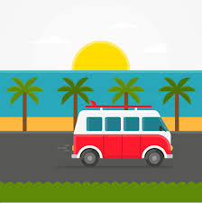 Vector Car Traveling By The Sea Diagram Running Bus Free PNG And