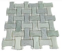ming green marble curved basketweave white dot mesh mounted tile