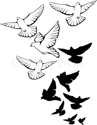 Flying pigeons background Hand drawn vector illustration Stock Vector