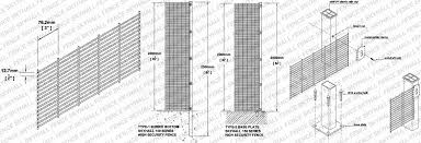 The Drawing Of Anti Climb Fence Installation Including 358 Mesh Fence Hebei Skyhall Metal Fence Co Ltd
